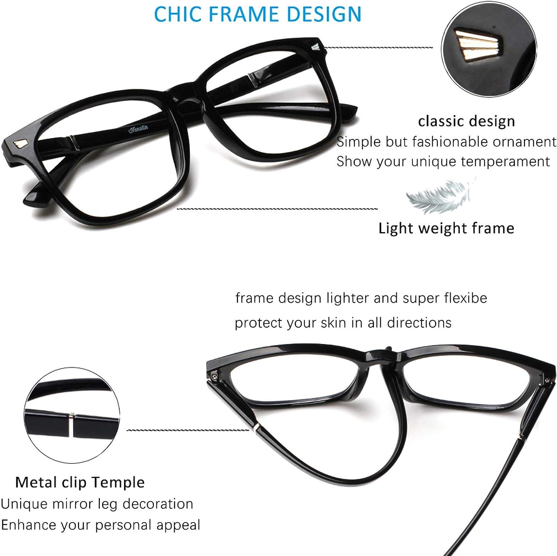 Henotin 4-Pack Blue Light Blocking Reading Glasses Women Men,Spring Hinge Computer Readers,Anti UV Ray Square Nerd Eyeglasses