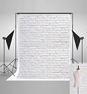 5ft(W) x7ft(H) (150x220cm) White Brick Wall Background for Picture Fabric Brick Photography Backdrops Still Life Photography Background Photo Booth Prop Decor