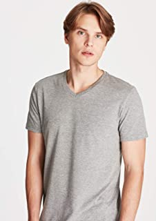 V Yaka Gri Tişört