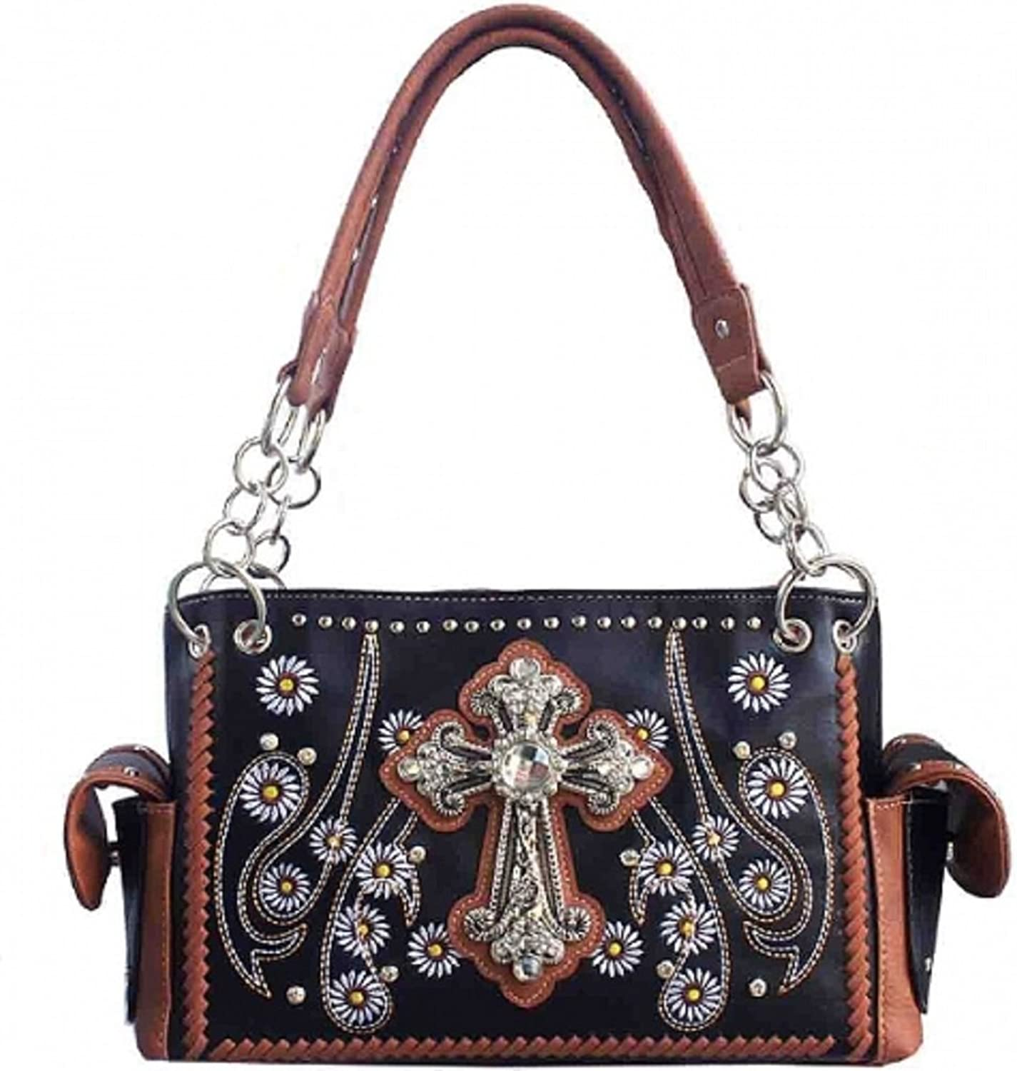 Concealed Carry Rhinestone Studded Cross Western Purse (Brown)
