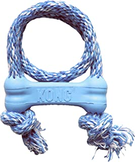 KONG - Puppy Goodie Bone with Rope - Teething Rubber, Teeth Cleaning Dog Toy - (Assorted Colours) For Extra Small Puppies