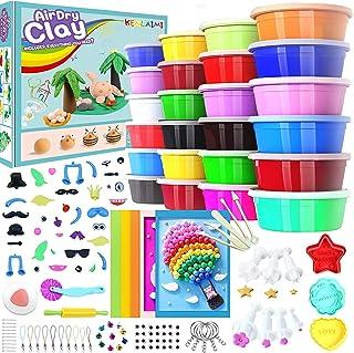 Kenlaimi Magic Modeling Clay Kit - 24 Colors Air Dry Ultra Light Magic Clay,Soft & Stretchy Molding Clay with 11 Pcs Fonda...