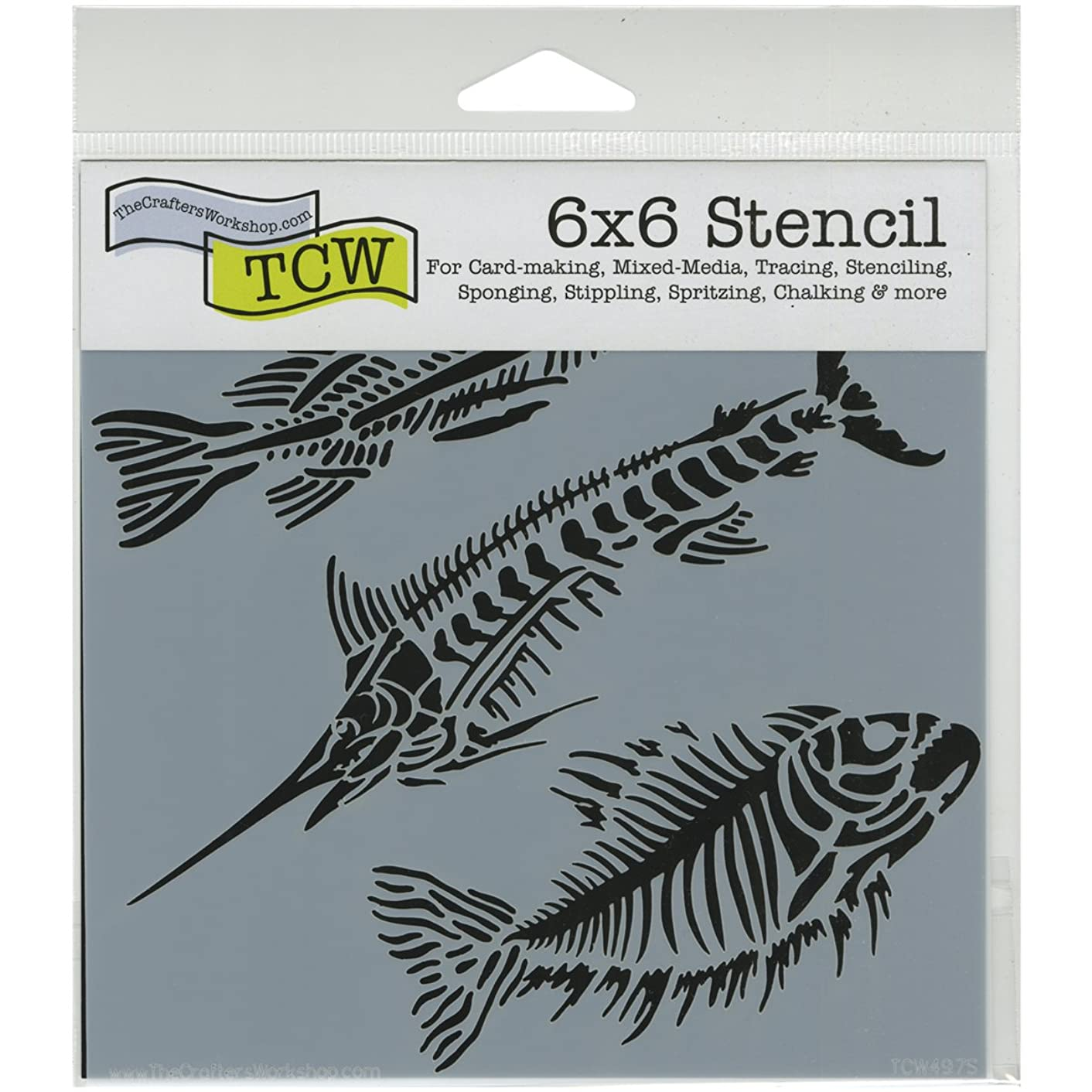 CRAFTERS WORKSHOP TCW6X6-497 Fish Fossils Template, 6-Inch by 6-Inch