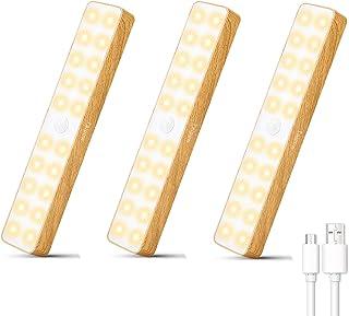 LED Sensor Movimiento Luz, Taipow Luces para Armarios LED Sensor, USB Recargable Luz Nocturna, Inalámbrica Lamparas Iluminación de Interior, Aplicar a Gabinete Escaleras Cajón Cocina - 3 Piezas