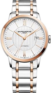 Baume & Mercier Classima Mens Automatic Watch - 40mm Analog Silver Face with Second Hand, Date and Sapphire Crystal Two Tone Swiss Made Watch - Stainless Steel Plated Rose Gold Watches For Men 10217