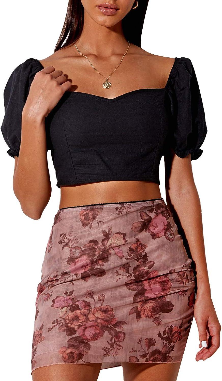 Women's High Waist Mesh Tulle Flowers Angel Printed Bodycon Slim Layered Mini Skirts Casual Party Beach Skirts