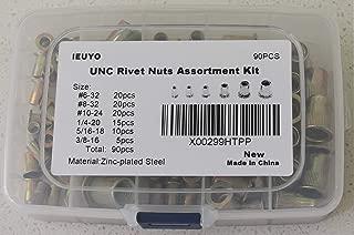 IEUYO Rivet Nuts Assortment Kit, Rivet Nut Threaded Rivet nut Insert Nutsert Zinc Plated Finish, Flat Head, 90 Pcs 6Sizes, UNC #6-32#8-32#10-24 1/4-20 5/16-18 3/8-16