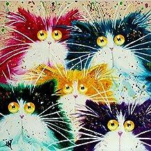 ECMQS DIY Pintar por números para Adultos niños – Gato Abstracto 40 x 50 cm Lino Lona – DIY Pintura al óleo (Marco)