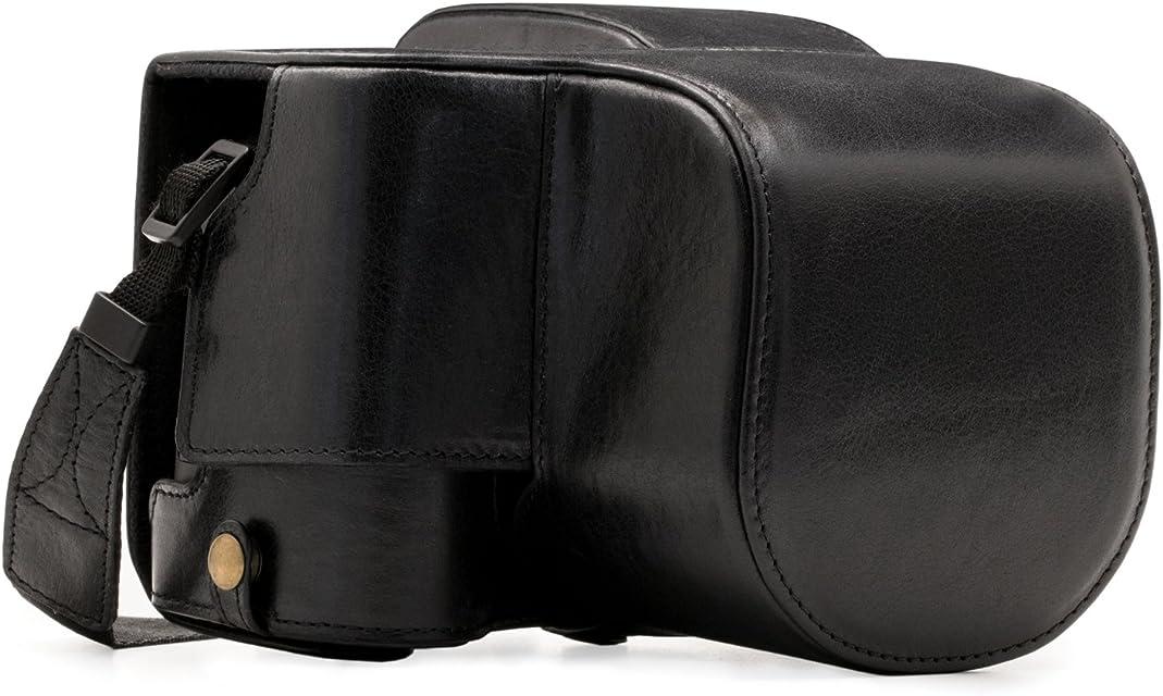 MegaGear Estuche Ever Ready Funda de Pronto Uso de Cuero auténtico con Correa Compatible con Leica Typ 114