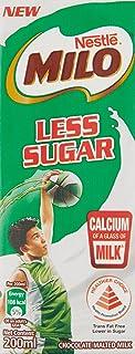 MILO UHT Less Sugar Chocolate Malted Milk, 200ml, Pack of 6