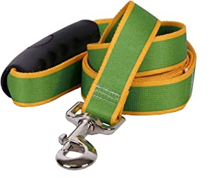 """Yellow Dog Design Sterling Stripes Kelly Green Goldenrod Dog Leash with Grip Handle-Small-5/8"""" 5' x 60"""""""