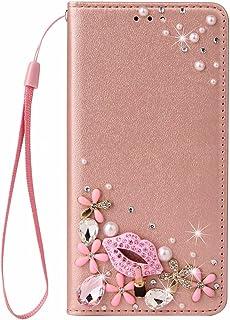 Nadoli Wallet Case with Diamond for Samsung Galaxy A02,3D Handmade Pink Flower Lip Silk Pattern Shiny Glitter Bling Pu Lea...