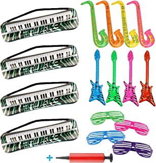 16 Pieces Inflatable Toy Set Inflatable Keyboards Toy Electric Guitar Saxophone and Plastic Shutter Shades Glasses for 80's 90's Themed Party ,kids Birthday Decor and School Music Activities,Adults Costume Accessories and Hip Hop Party