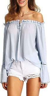 Women's Bell Long Sleeve Ruffle Off The Shoulder Blouse Tops