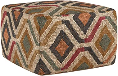 SIMPLIHOME Johanna Square Pouf, Footstool, Upholstered in Kilim Patterned Jute, for the Living Room, Bedroom and Kids Room, T