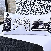 Almofada Avulsa Game Retrô Branco/Preto 60cm x 30cm c/Refil