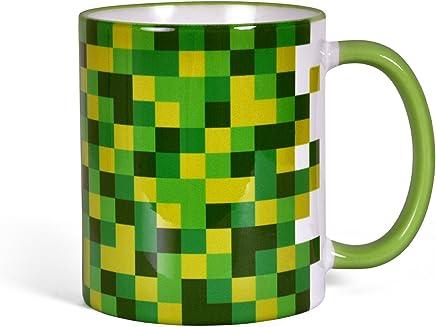 Preisvergleich für Elbenwald Pixel Tasse für Gamer Fans rundum bedruckt farbiger Henkel 300ml Block Würfel