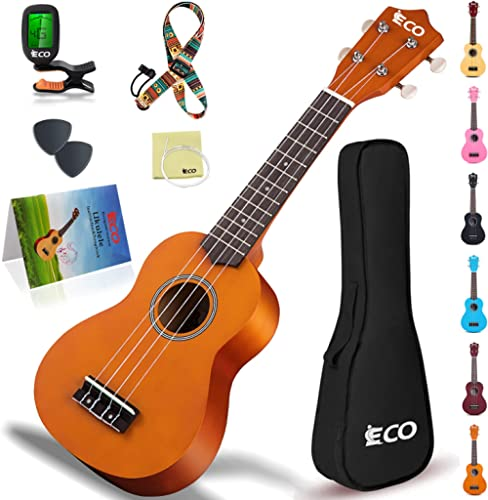 Kit de débutant ukulélé soprano pour enfants et débutants, Ukelele 21 pouces avec recueil de chansons, étui, sangle, ...