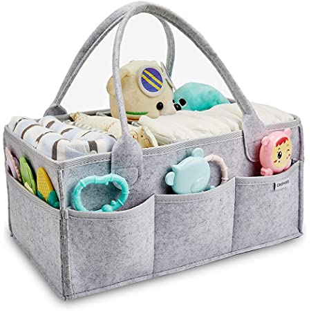 GreyStar Chengruishun Large Baby Diaper Caddy Organizer,Multifunctional Nappy Caddy Nursery Storage Portable Car Organizer Basket with Removable Compartments and Invisible Pockets for Diapers /& Wipes