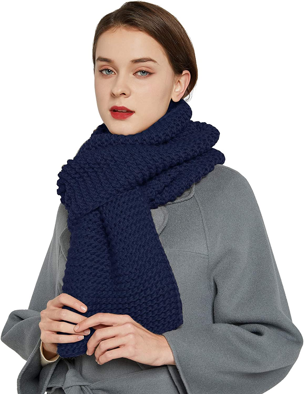 Surblue Winter Knit Scarf Warm Thick pattern Long for men and women for outdoors