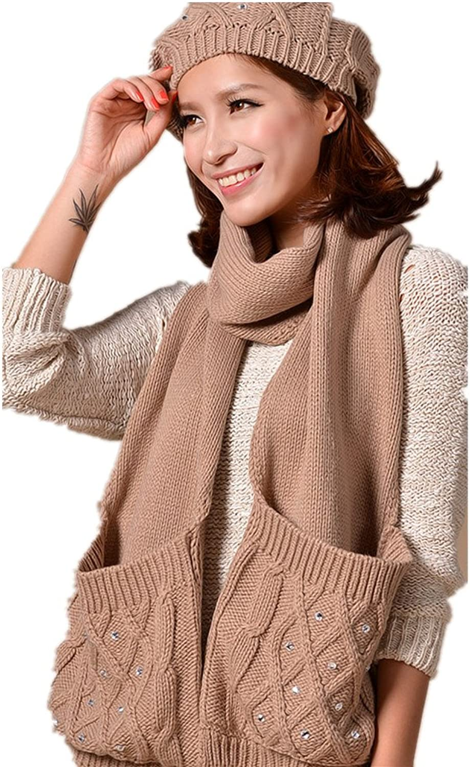 Winter fashion warm Faux Fur inserted velvet Hoodie Knitted Hat&Scarf Set Long Hat,Beste for new present Light tan
