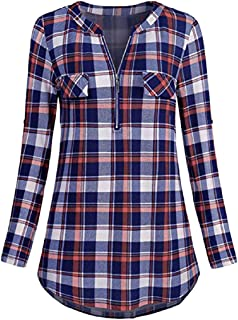 Wintialy Womens Casual Rolled Sleeve Zipped V-Neck Plaid Printed Shirt Tunic Tops Blouse