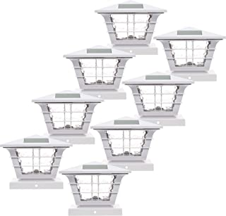 8 Pack GreenLighting 5x5 Solar Powered Post Cap Light with 4x4 Base Adapter (White)