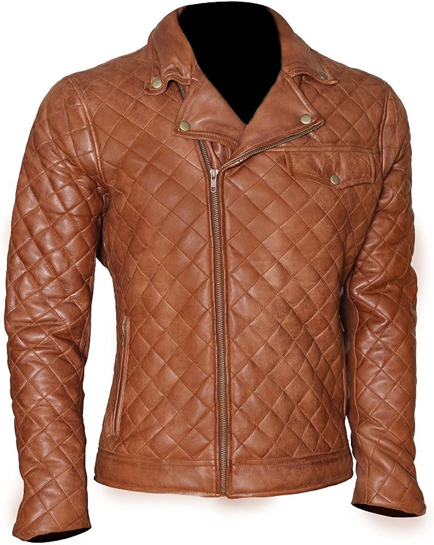 World of Leather Men's Lambskin Biker Leather Jacket Moto Diamond Quilted Cognac