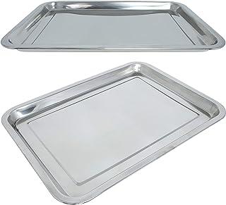 2er Servierplatte Serviertablett Metall Tablett Platte Service Auflageplatte Neu
