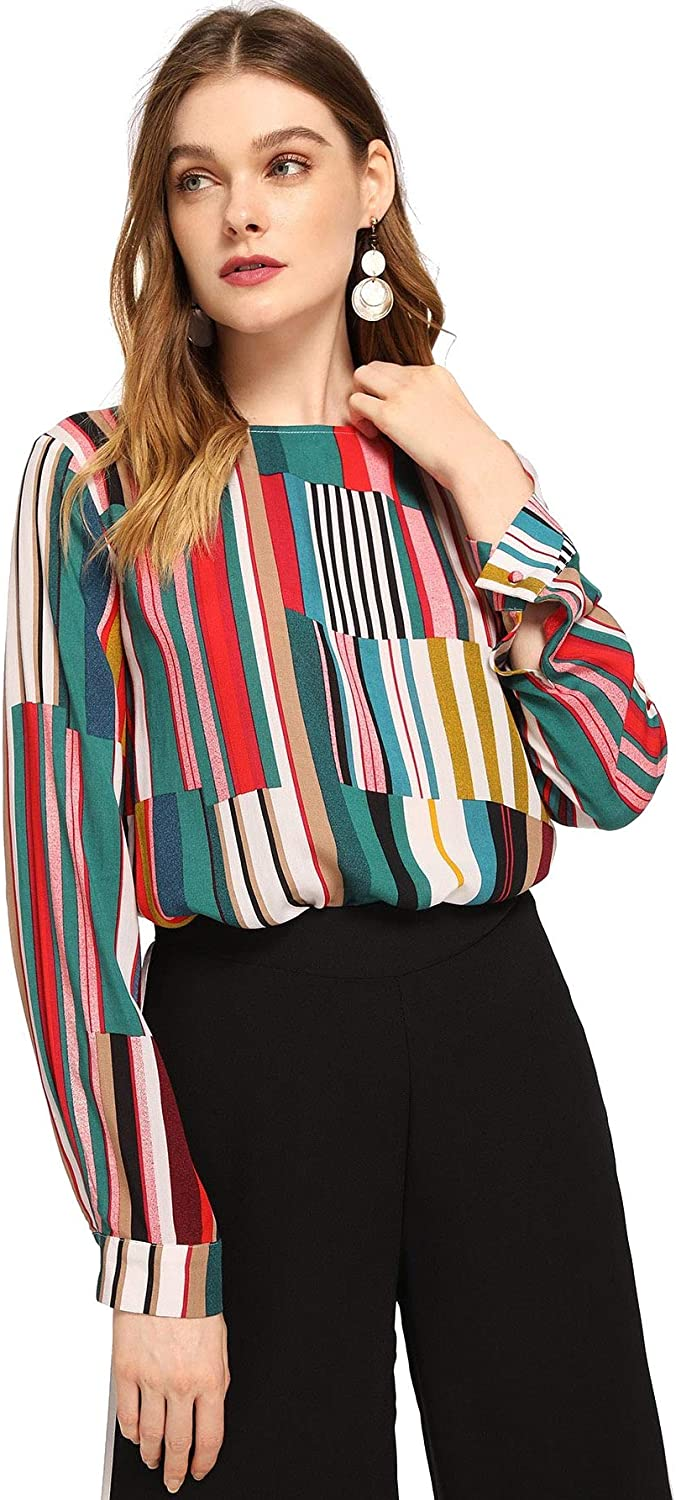 SheIn Womens Casual Long Sleeve Round Neck Tops Mixed Striped Blouse