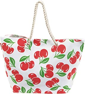 ARDITEX Unisex Zaska Cherry Tote Bag with Magnet Closure and Rope Handles, - 56x18x38 cm, White