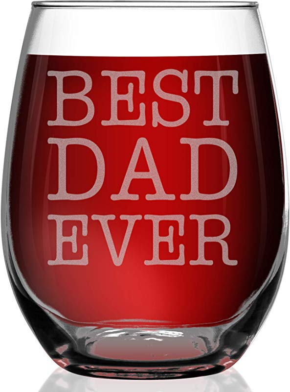 Shop4Ever Best Dad Ever Laser Engraved Stemless Wine Glass Gift For New Dad Father S Day Gift 15 Oz