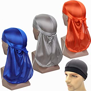 T&Z 3 Pack Unisex 360 Waves Cap Du rag Fashion Velvet Silk Shiny Soft Reflective Bonnet Durag