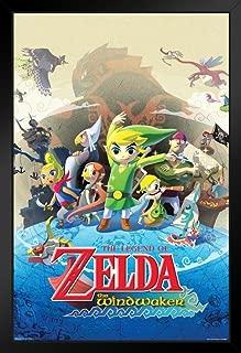 Pyramid America The Legend of Zelda Wind Waker Nintendo Action Adventure Video Game Series Gamecube Black Wood Framed Poster 14x20