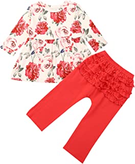 puseky Chica Floral Fiesta Trajes Manga Larga Camisa Pantalones Volantes Ropa Otoño