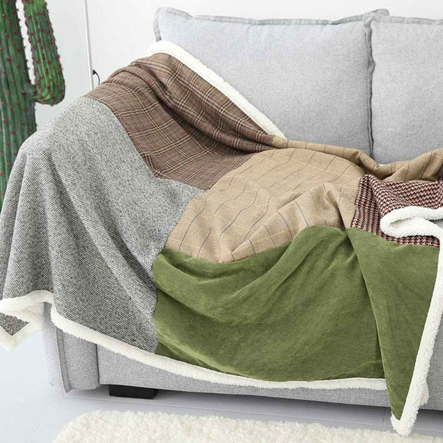 Tail Single Piece Lamb Cashmere Sofa blanket Lunch Break blanket (color   Brown, Size   51.18  62.99)