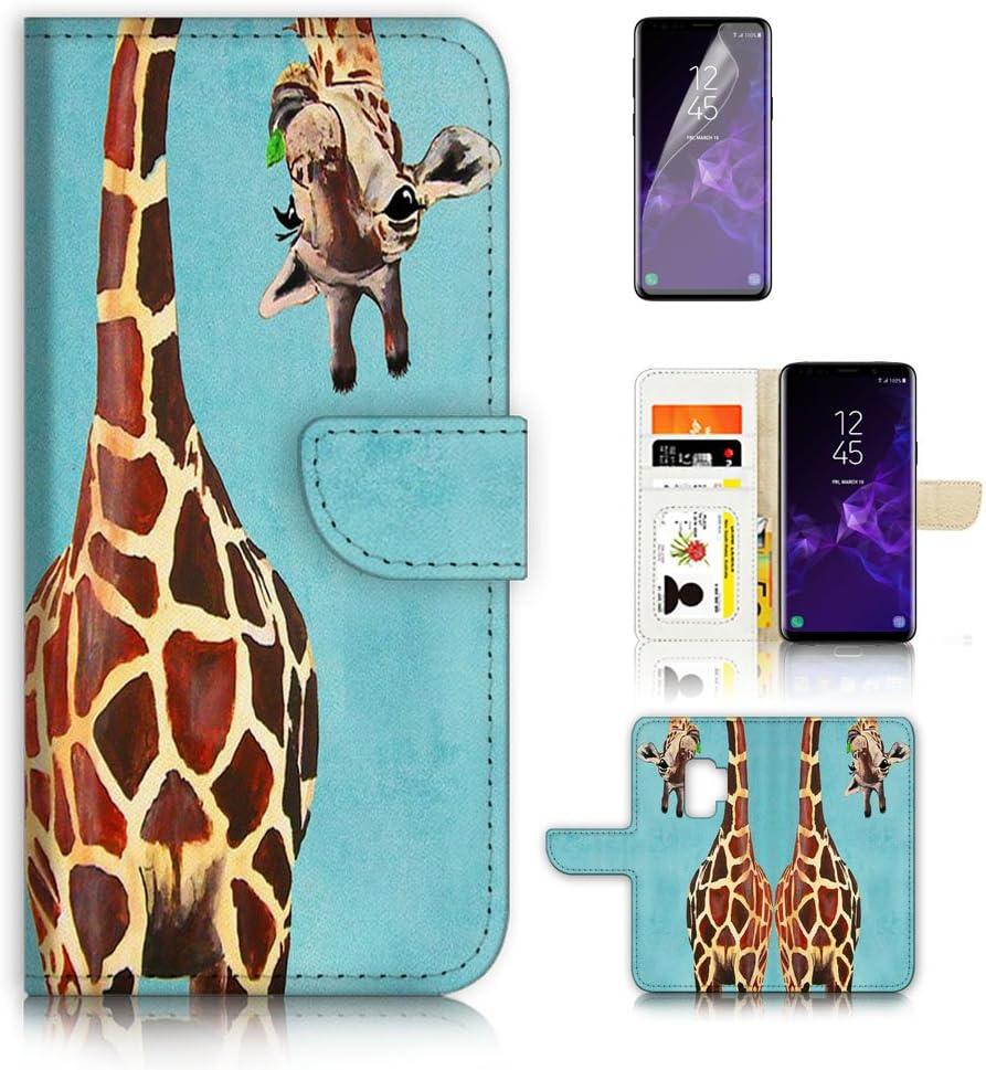 (for Samsung Galaxy S9) Flip Wallet Case Cover & Screen Protector Bundle - A4131 Giraffe