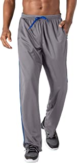 Men's Jogger Sweatpants Zipper Pockets Breathable Running Gym Workout Athletic Mesh Pants Open Bottom