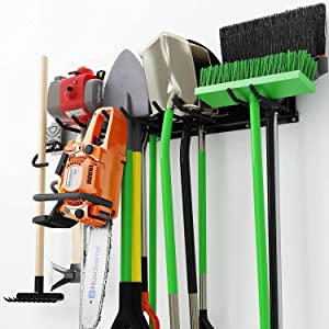 Garage Tool Organizer, Wall Mount Storage Rack, Strong and Durable Max 310 lbs, Holds Garden Tools Such as Shovel, Shelf, Hoes, Axe, Pickaxe, Broom, Weeder and Leaf Blower, and More