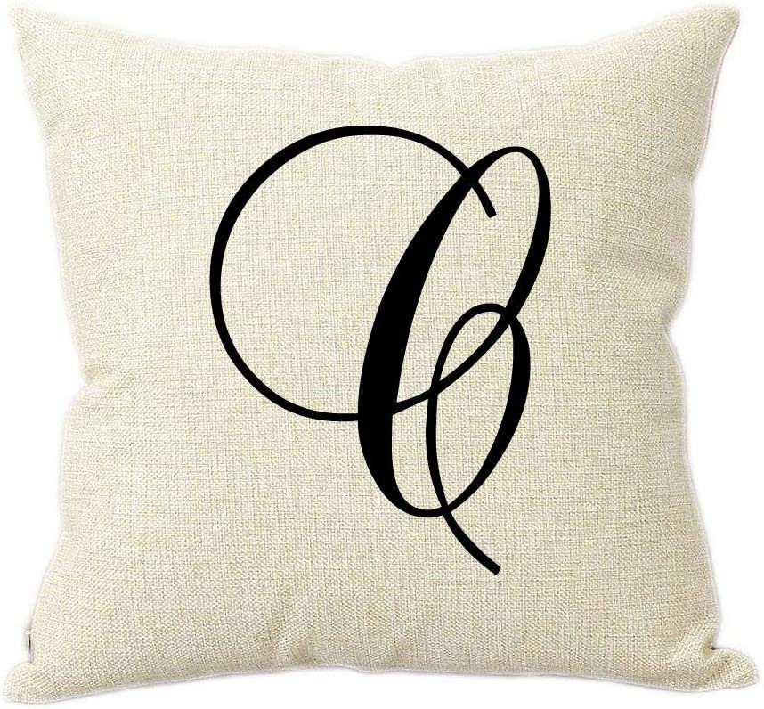 Partyposhdesigns Intricate Script Letter B Linen Throw Pillow 15 Inch Square With Insert Included Home Kitchen