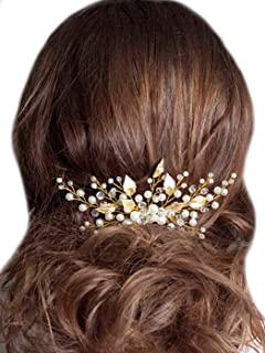 Unicra Wedding Leaf Decorative Hair Comb Bridal Hair Accessories with Pure Bead for Brides and Bridesmaids