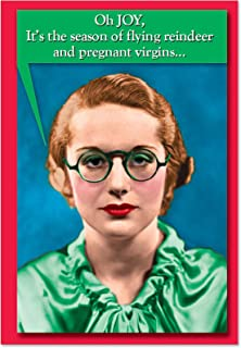 Pregnant Virgins - 12 Humorous Merry Christmas Note Cards with Envelopes (4.63 x 6.75 Inch) - Naughty Happy Holidays Card for Girls, Women - Boxed Stationery Notecard Set B1416