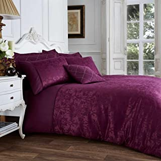 Gaveno Cavailia Jacqaurd VINCENZA Bed Set with Duvet Cover and Pillow Case, Polyester-Cotton, Aubergine, King