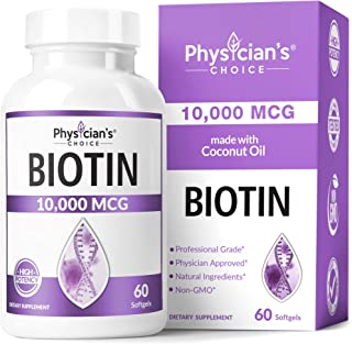 Biotin 10000mcg with Coconut Oil for Hair Growth, Natural Hair, Skin and Nails Vitamins - High Potency Biot...