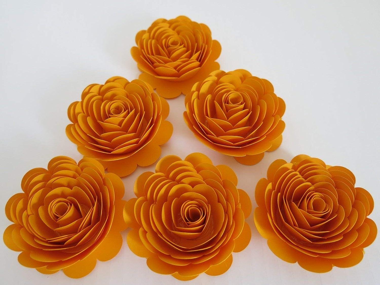 Regular store Gold Roses Matte 3 Inch Online limited product Paper 6 Flowers Anniversar Golden Set of