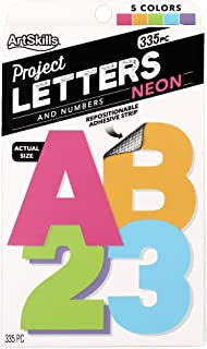 ArtSkills Poster Letters and Numbers, A-Z and 0-9, Neon Colors, Assorted, 310-Count (PA-1464) Standard
