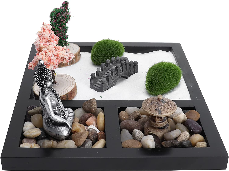 FEYV Zen Garden Complete trust Free Shipping Sand Table Cozy Meditation Sandbox for Tea