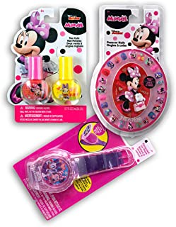 Minnie Mouse Lip and Nail Cosmetic Set - 24 Press-on Nails with 1 Nail File, Strawberry Flavoured Cool Lip Gloss Watch, 2 Cute Nail Polishes (Pink and Yellow) for Toddler and Little Girls