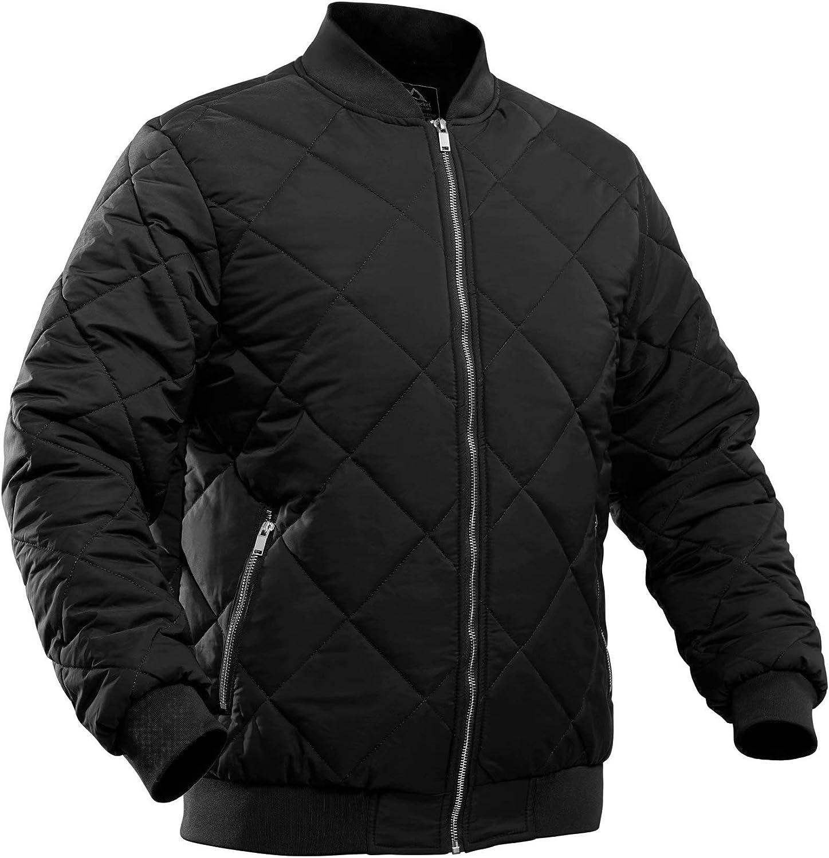 MAGCOMSEN Men's Winter Bomber Jacket Down Outerwear with Zipper Pockets Thicken Warm Windbreaker Coats