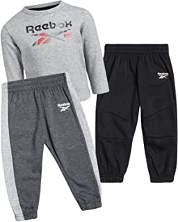 Reebok Baby Boy's Jogger Set - Infant/Toddler 3-Piece Fleece Crew Neck Pullover Sweatshirt and Jogger Sweatpants Set